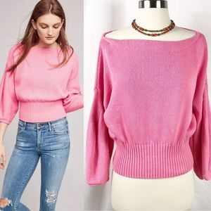 EUC✨ANTHRO'SKnitted&Knotted BoatNeck Pink Pullover